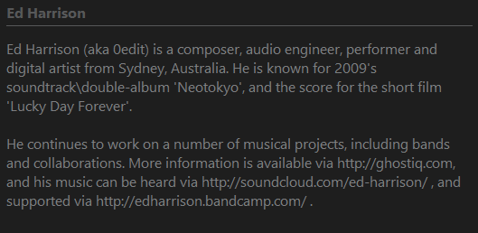 Screenshot of a `Artist Biography (Last.fm)` script
